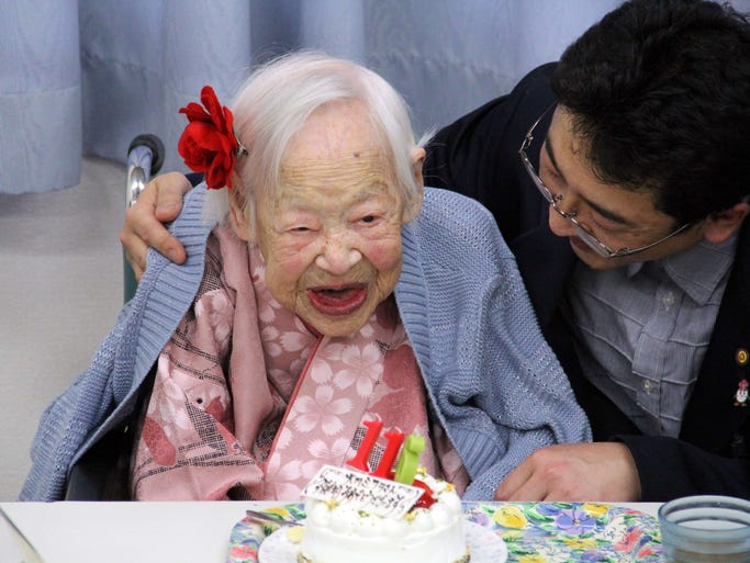 Misao Okawa celebrates her 116th birthday March 5 at a nursing home in Osaka, Japan.