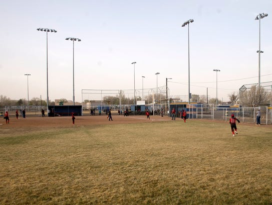 Bloomfield youth baseball players face off in an April 15 game at the city fields on South 1st Street in Bloomfield.