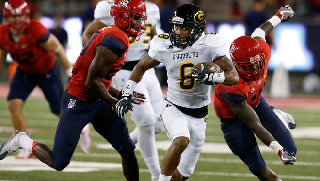 Grambling State wide receiver Dominique Leake (8) during the second half of an NCAA college football game against Arizona, Saturday, Sept. 10, 2016, in Tucson, Ariz. Arizona defeated Grambling State 31-21.