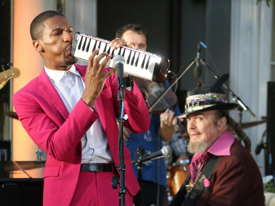 """Jon Batiste, left, and Dr. John get into a New Orleans groove during a roving road trip around the nation when the """"America's Musical Journey 3D"""" opens Friday at The IMAX Theatre in the Challenger Learning Center on Kleman Plaza. It's narrated by Morgan Freeman, runs 40 minutes and is not rated (very sweaty dancing, gyrating salsa moves). For more, visit www.challengertlh.com."""