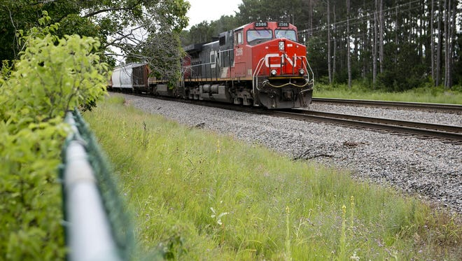 A train sits on the railroad tracks near Woodward Drive in Stevens Point on July 14.