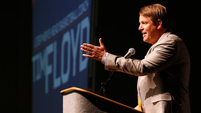 Tim Floyd, who is entering seventh season as head coach at UTEP, addresses boosters at the yearly UTEP Basketball Tip-Off luncheon held at the El Paso civic center. Floyd talked about his team and the number of returning players that he will have on this years team as well as all the new talent that he hopes will help this year's team improve on last year's record.