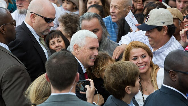 Prior to being elected vice president, then-Gov. Mike Pence is seen campaigning at the Las Cruces airport in November 2016 as part of the Donald Trump campaign.