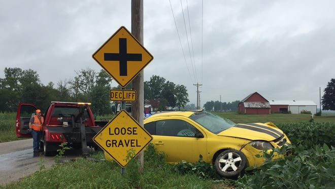 Anadult and a child were injured in a one-car rollover wreck west of Marion Tuesday morning.
