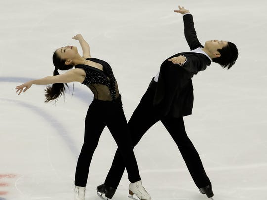 Maia Shibutani and Alex Shibutani perform during the short dance competition at the U.S. Figure Skating Championships on Friday, Jan. 20, 2017 in Kansas City, Mo.