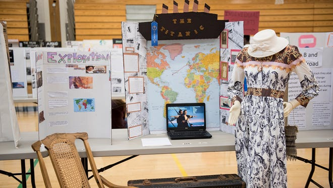 A Titanic display made by Taylor McDaniels was one of many projects shown at CASHS History Day on Wednesday, April 20, 2016 in Chambersburg, Pa. McDaniels won first place for her display for individual projects.