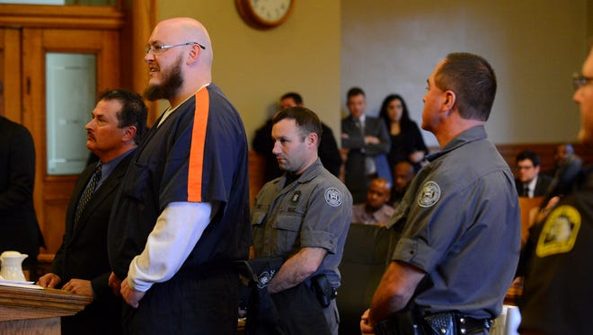Joshua Harding appears for his sentencing on Wednesday, March 15, 2017 at the Ingham County Courthouse in Mason. He was sentenced 20 to 60 years in prison for assault with intent to murder and two to six years on two weapons charges.