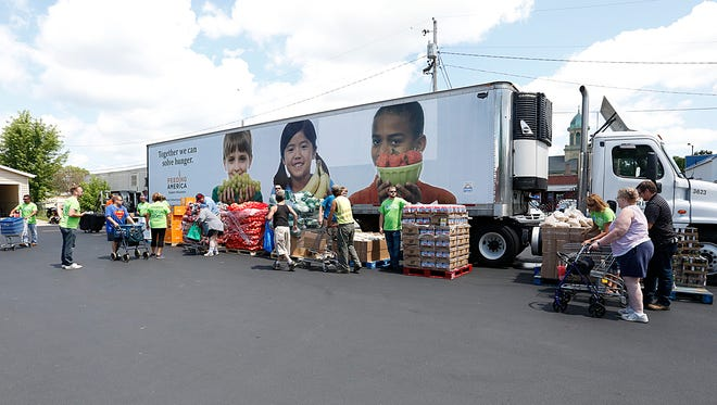Feeding America, The Fond du Lac Salvation Army and Alliant Energy teamed up Thursday afternoon in the Salvation Army parking lot to hand out food to those in need.