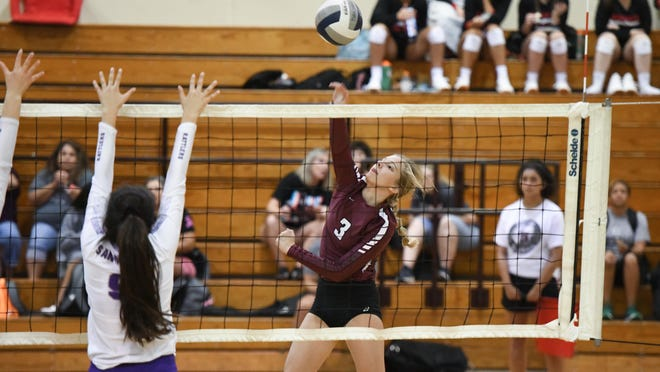 Bastrop's Kaitlyn Parsons slams the ball home for a kill in a previous game.