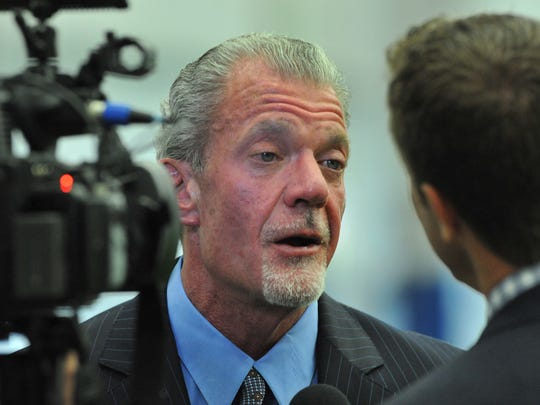 Indianapolis Colts owner Jim Irsay talks to the media during practice at the Colts Indianapolis Farm Bureau Insurance Football Center October 16, 2013.