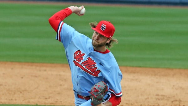 Redshirt junior Sean Johnson throws a pitch during Ole Miss' season-opening series against Florida International. The right-hander has been a welcome addition to the team's starting rotation as the Sunday starter.