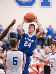 Wynford guard Josh Crall attempts a layup.
