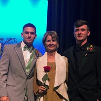 Louisiana College baseball players served as escorts for the St. Francis Cabrini Cancer Center Threads fashion show Sunday afternoon. From left are: Kiefer Moore, Sully Martin, Colynda Byrnes, Zane Corbell and Dylan Keller.