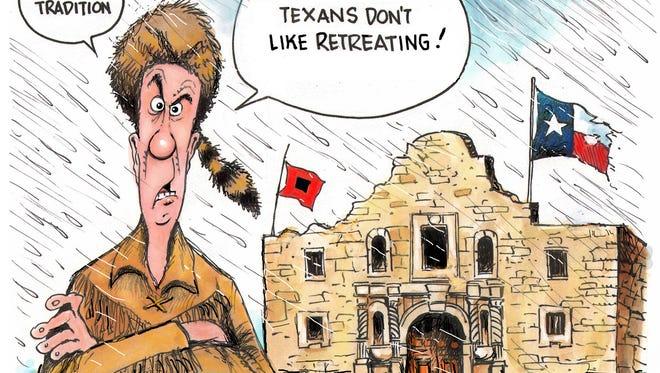 No retreating in Texas.