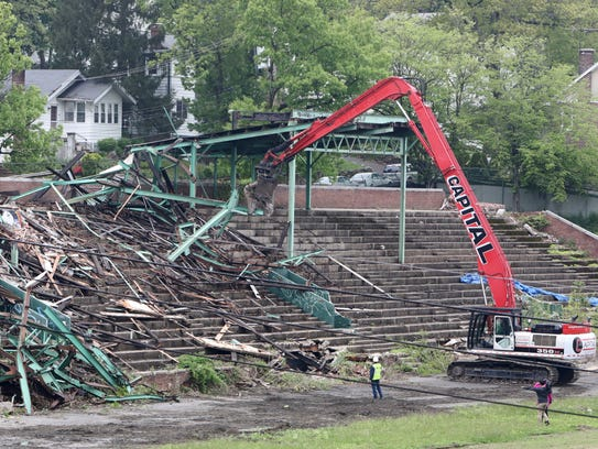 Demolition of the grandstand at Memorial Field begins