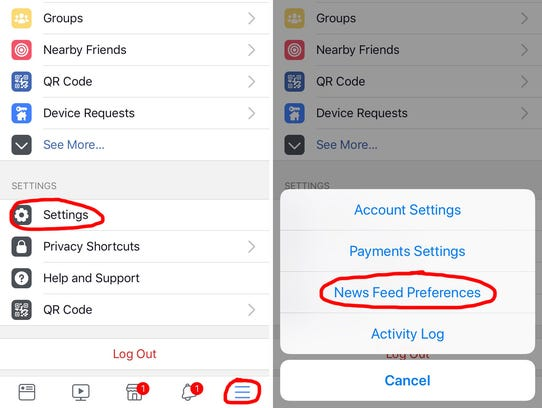 On your iPhone, you'll go to the Settings on your Facebook