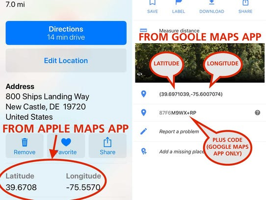 Location information from Apple Maps and Google Maps