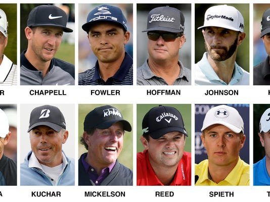 These 2017 file photos show the United States roster for the 2017 Presidents Cup golf matches at Liberty National Golf Club in Jersey City, N.J. Top row, from left, Daniel Berger, Kevin Chappell, Rickie Fowler, Charley Hoffman, Dustin Johnson and Kevin Kisner. Bottom row, from left, Brooks Koepka, Matt Kuchar, Phil Mickelson, Patrick Reed, Jordan Spieth and Justin Thomas. (AP Photo/File)