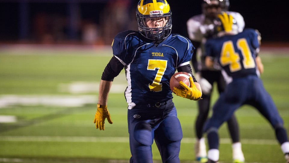 Tioga running back Jesse Manuel rushes for a touchdown