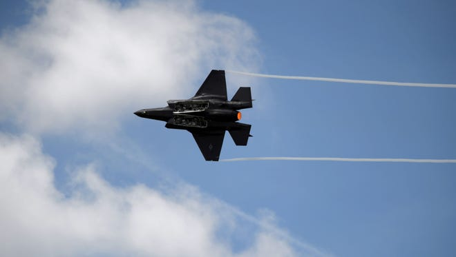 A Lockheed Martin F-35 jetfighter performs during a demonstration in Le Bourget on June 16, 2017,  prior to the formal June 19 opening of the Paris Air Show.