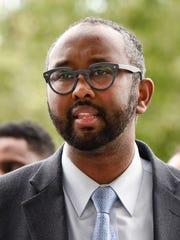 Jaylani Hussein speaks during a press conference Sunday,