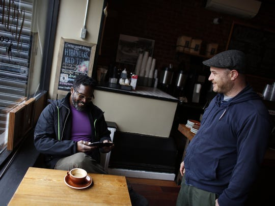 Drummer Gerald Cleaver, left, with fellow drummer Ben Perowsky at a coffee shop near Cleaver's Brooklyn, N.Y., home on Tuesday, April 14, 2015.