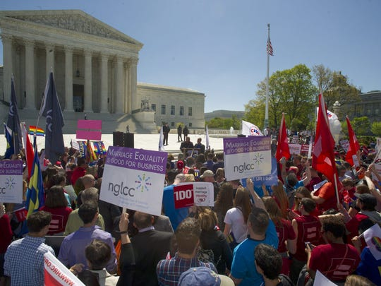 Supporters and opponents of same-sex marriage gathered outside the U.S. Supreme Court, where hearings on marriage equality began April 28, 2015.