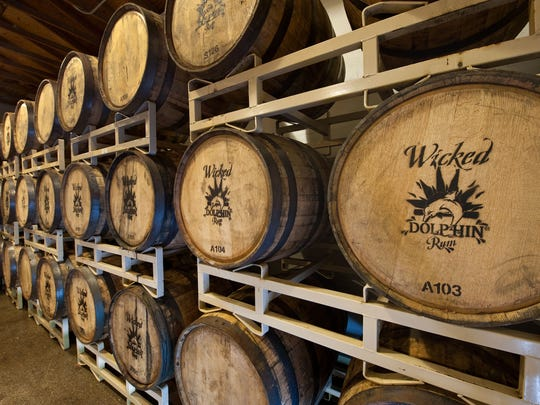 Rum is aged in charred oak barrels at Wicked Dolphin Artisan Rum in Cape Coral