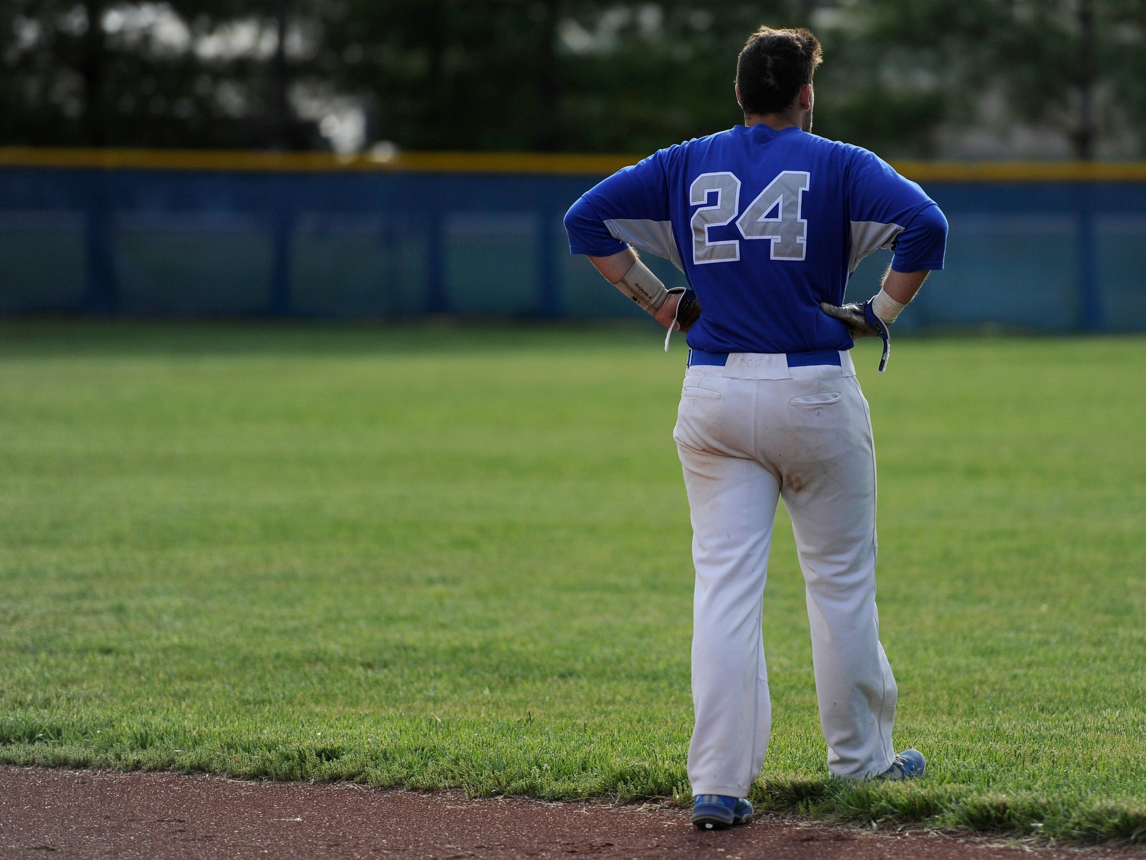 Chillicothe's Gage Jones takes a moment in the outfield after getting out at first base, ending another runless innning for the Cavalier's during the game against Licking Heights in the Division I Sectional Semi-Final at Chillicothe on Tuesday. The final score was Chillicothe 0, Licking Heights 5.