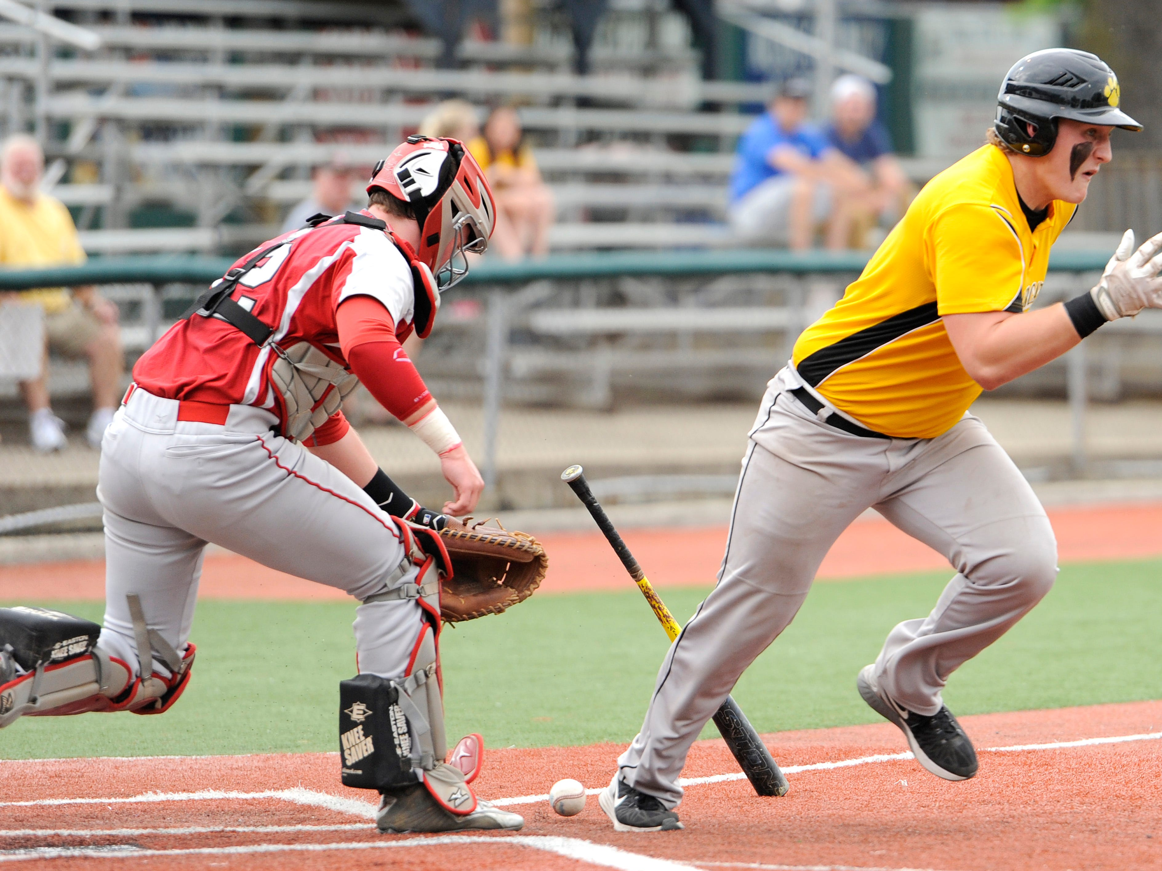 Paint Valley's Josh Krech tries to reach base on an infield hit during the Division IV District Dinal against Symmes Valley at V.A. Memorial Stadium, Monday night. The final score was Paint Valley 5, Symmes Valley 4.