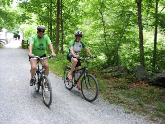 Riders of all ages and skill levels enjoy biking the scenic Columbia Trail during The Land Conservancy of New Jersey's annual 'Pedal for Preservation' cycling event in 2014.