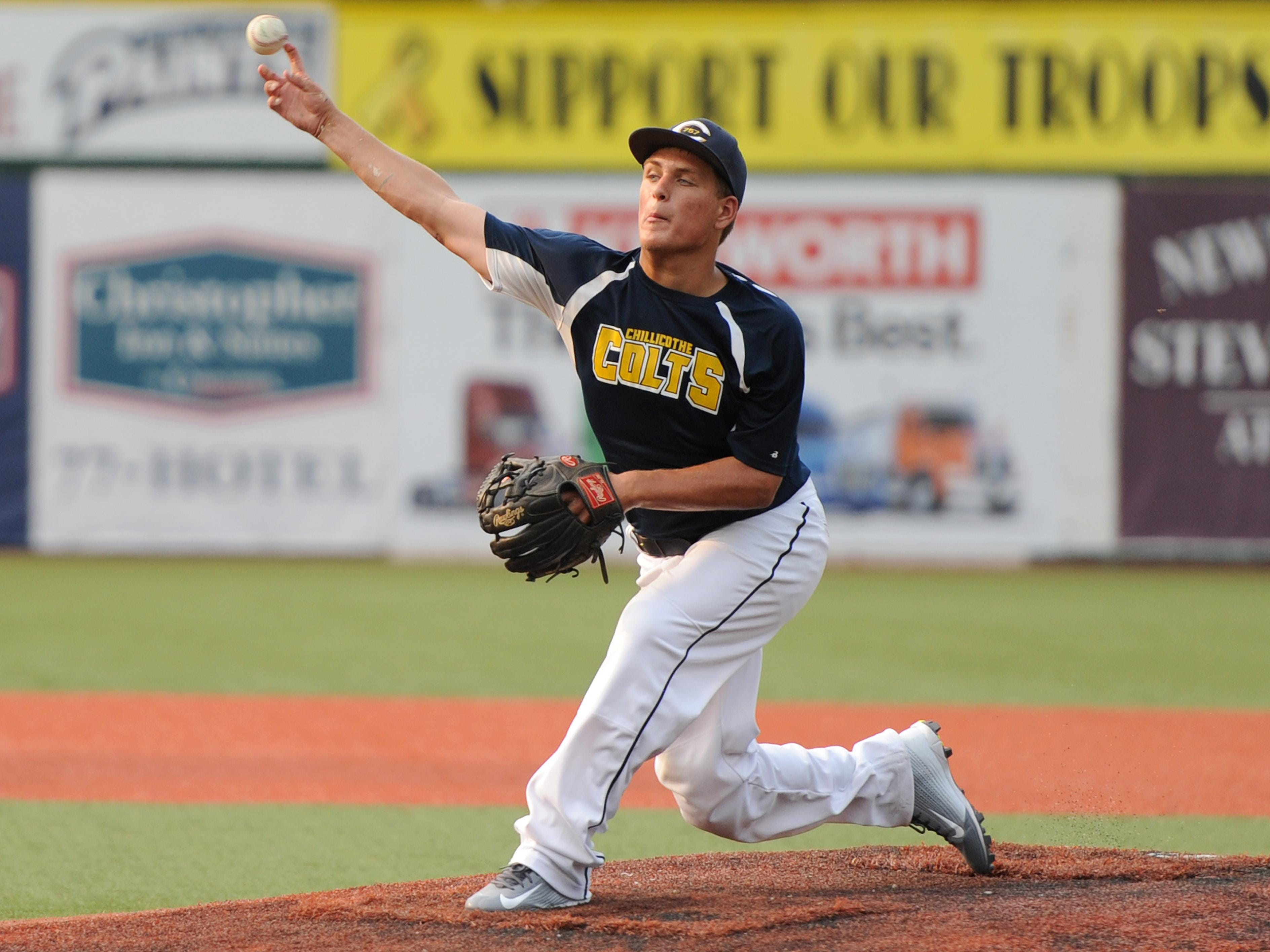 Chillicothe Post 757's Josh George pitches during the game against Washington Courthouse Post 25 at V.A. Memorial Stadium on Wednesday.