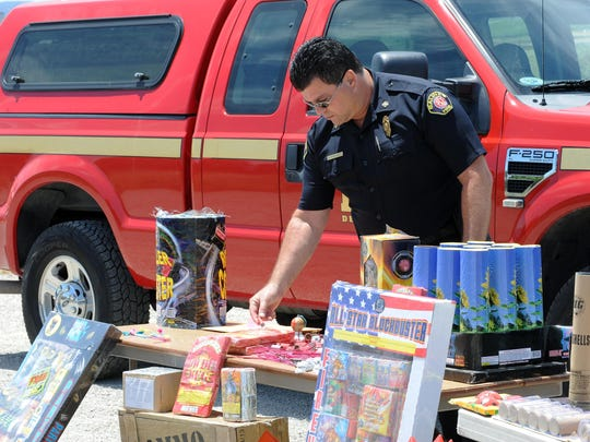 Salinas Fire Chief Ed Rodriguez with examples of illegal fireworks at a demonstration on Tuesday of the risk for damage or injury.