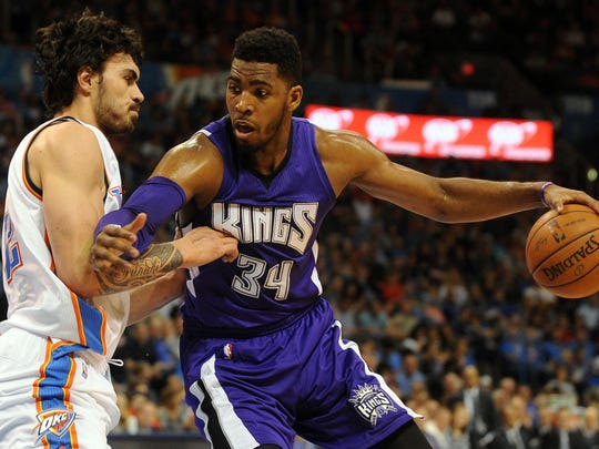 Jason Thompson (right), a former Lenape and Rider standout, played in the NBA for eight seasons, seven with the Sacramento Kings.