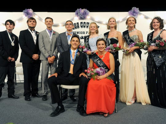 Twins Nathaniel Lamb and Elle Lamb's court include, from left, Tristan Stevenson, Briar Causey, Kevin Daubenmire, Ryan Tumbleson, Taylor Clarkson, Bailey Barnes, Morgan Miller and Michaela Weaver.