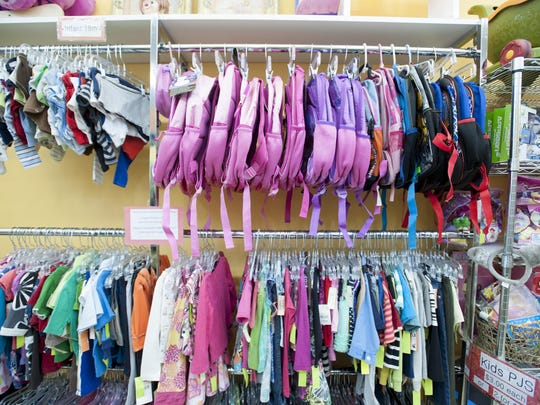 Second Glance Resale blends gently used merchandise with new items purchased in bulk, such as school uniforms, lunch boxes and backpacks. This merchandise is at the Eastpointe store.