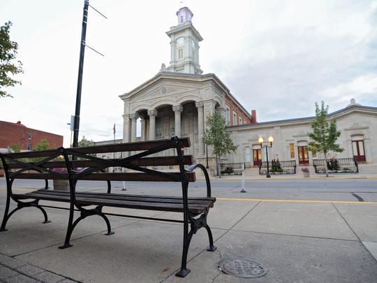 Chillicothe officials have removed several downtown benches, like this one across from the Ross County Courthouse, in an effort to discourage loitering and prostitution.