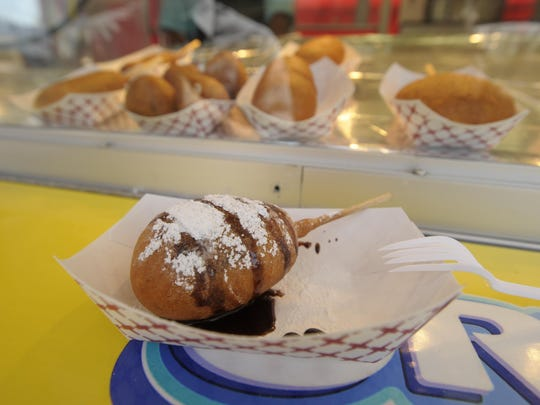 There are plenty of different deep fried foods to try at the Tulare County Fair this year in Tulare. These deep fried foods range from Reese's Peanut Butter Cups wrapped with bacon, pictured, to nutella, to the traditional corn dog.