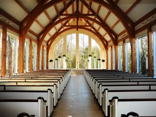 Ashton Gardens in Dallas offers a distinctive glass enclosed chapel.