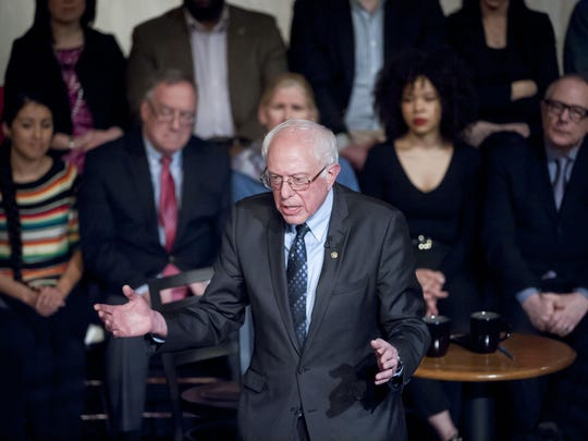 Democratic presidential candidate Bernie Sanders participating in a town hall discussion moderated by Bret Baier and hosted by Fox News at the Gem Theatre in Detroit on Monday.