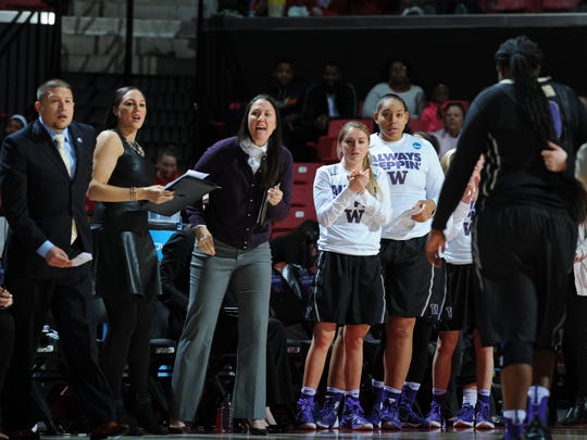 Former Rice Memorial star and University of Connecticut hoops alum Morgan Valley (third from left) is headed to the Final Four in Indianapolis with the Washington women's basketball team, which advanced to this round of the NCAA tournament for the first time in program history.