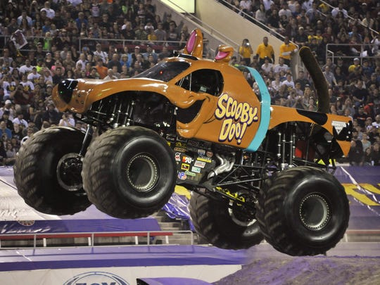 Johnson driving the Scooby Doo Monster Jam truck.
