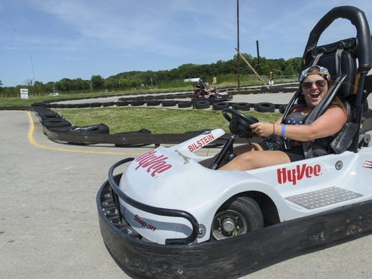 Nicki Crozier of Des Moines joined in to take a few laps on the go carts.