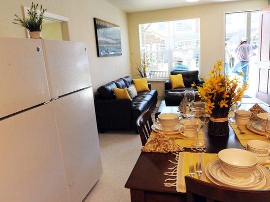 Kitchen and dining room spaces at Tanimura & Antle's Spreckels Crossing, their agricultural employee housing project.
