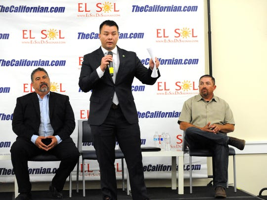 District 1 candidates (left to right) Brian Contreras Sr., Scott Davis and Juan Sandoval answered a series of questions during the forum.