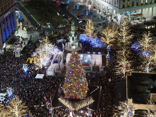 The 2015 Detroit Tree Lighting Ceremony drew a huge crowd to Campus Martius Park in downtown Detroit.