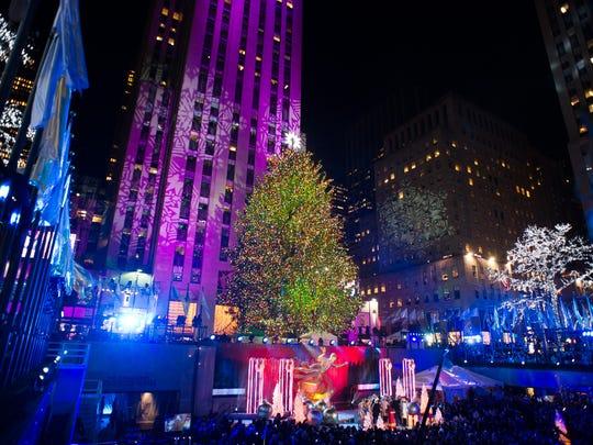 The Rockefeller Center Christmas tree is lit in New York through 8 p.m. Jan. 7.