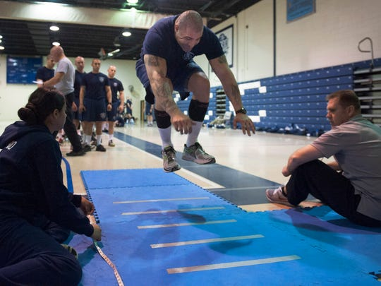 CCPD recruit Anthony Aceto Jr. participates in physical testing drills at Camden County College's Police Academy. Friday, April 25, 2014.