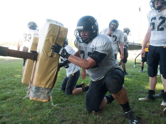 Moorestown's Jimmy McHugh does drills during practice. Tuesday, August 26, 2014.