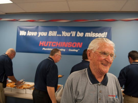 Bill Hansen at his 2014 retirement party at Hutchinson Plumbing, Heating and Cooling in Cherry Hill. When he turned 100 on Monday, Hansen requested to go back to work for the day.